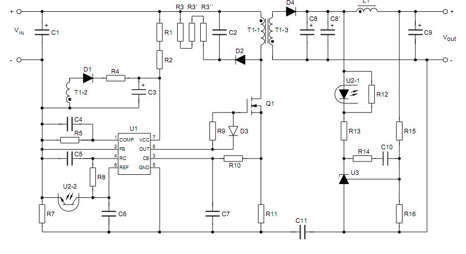 схема БП на UC3842